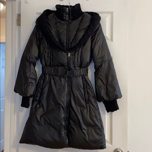 Mackage Ace Down Coat with Knit Collar (XS) Black